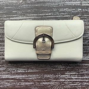 Coach White & Gold Soho Buckle Envelope Wallet